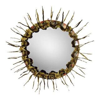Round Brutalist Sunburst Mirror For Sale