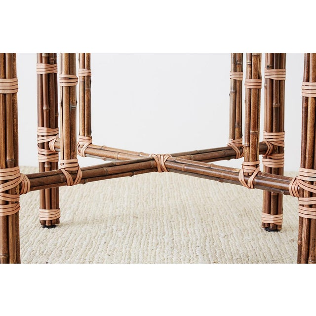 Animal Skin McGuire Organic Modern Bamboo Rattan Dining Table For Sale - Image 7 of 13
