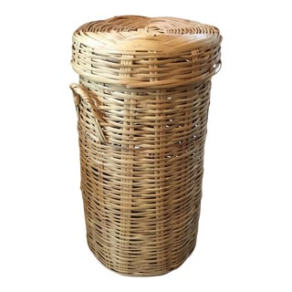Tall Woven Wicker Basket With Lid