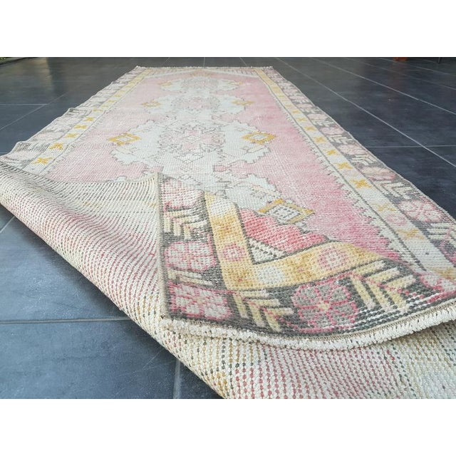 Textile Vintage Faded Oushak Floral Handmade Rug- 2′11″ × 9′1″ For Sale - Image 7 of 11