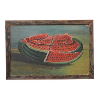 Primitive Painting of a Watermelon For Sale