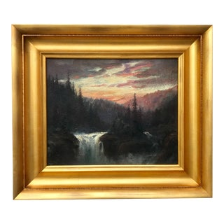 Antique Oil Painting Mountain Sunset by William Keith For Sale