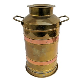 Vintage Brass and Copper Dutch Milk Can Container For Sale