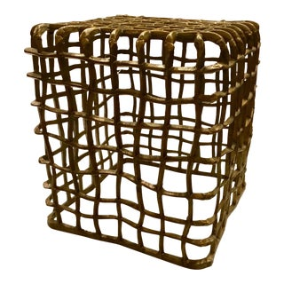 Antique Brass Finished Steel Grid Square Stool/Side Table For Sale