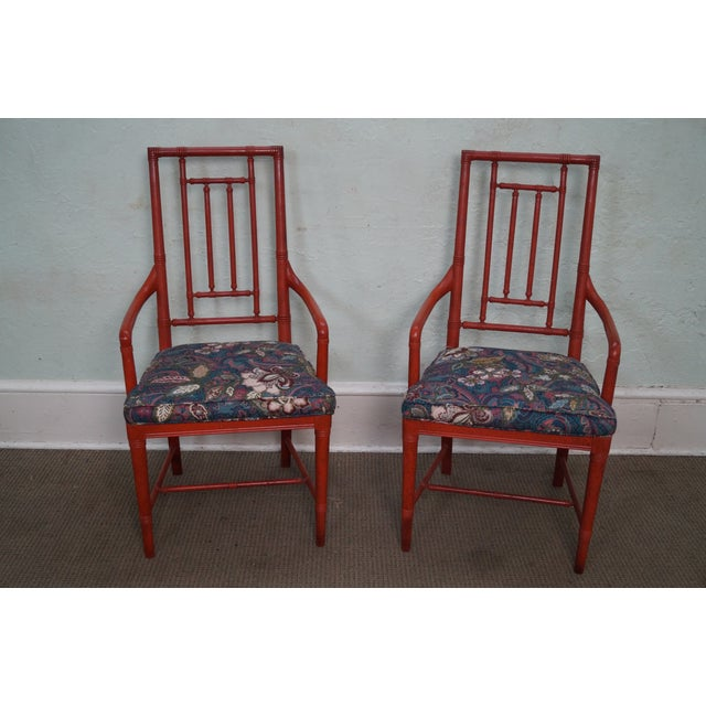 Drexel Heritage Vintage Faux Bamboo Painted Dining Chairs - 6 - Image 2 of 10