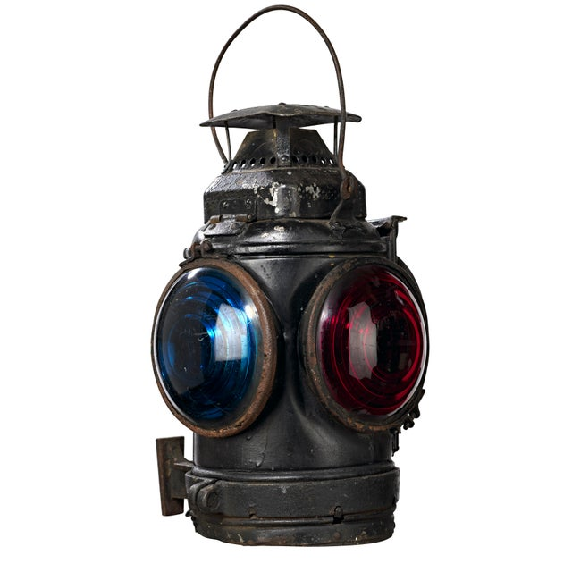 Industrial Three Lens Adlake Railroad Switching Lantern/Light For Sale - Image 3 of 12