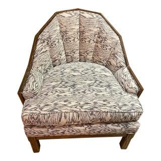 1960s Brandy Ranch Oak Barrel Back Chair For Sale