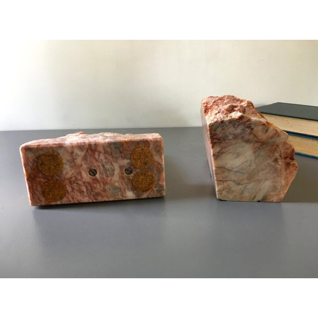 1980s Vintage Large Pink Marble Horse Bookend Stone Bookends For Sale - Image 5 of 6