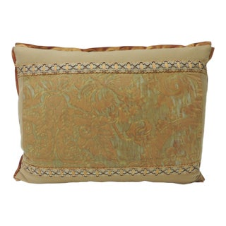 "Vintage Fortuny ""Medici"" Orange on Silver Decorative Bolster Pillow For Sale"