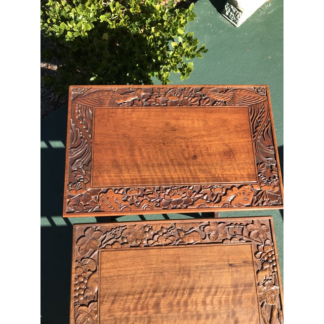 Wood Antique Nesting Tables - Set of 4 For Sale - Image 7 of 11