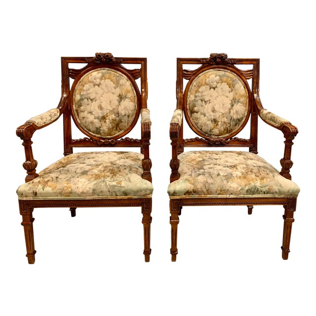 1920s Vintage French Louis XVI Solid Mahogany Accent Chairs or Bergère Chairs - a Pair For Sale