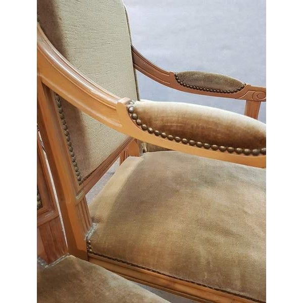 Set of Five French Louis XVI Square Back Vintage Dining Chairs 4 Side Chairs and 1 Armchair For Sale - Image 12 of 13