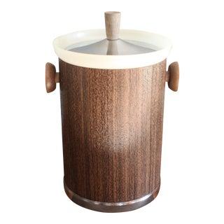 Mid Century Danish Style Ice Bucket Faux Woodgrain by Kromex For Sale