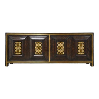 Ebonized Burl and Brass Credenza by Mastercraft For Sale