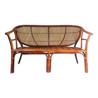 Vintage Sculpted Bamboo & Rattan Settee Barrel Back Bamboo Loveseat For Sale