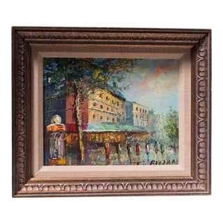 French Cityscape Oil on Canvas Signed Rivira For Sale