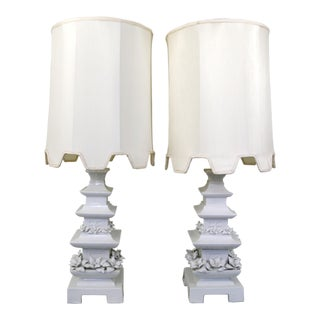 White Ceramic Pagoda Lamps - A Pair