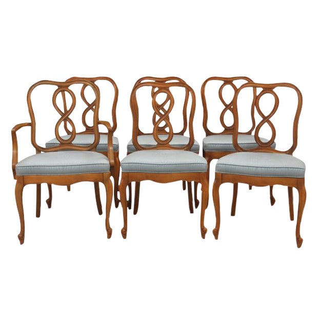 Louis XV Style Dining Chairs, S/6 - Image 1 of 4