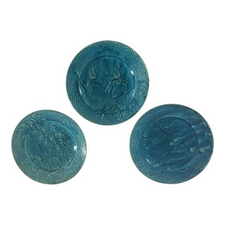 Antique Portieux Vallerysthal French Teal Majolica Plates - Set of 3 For Sale