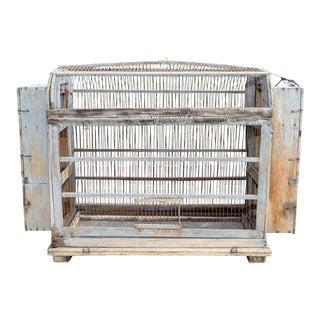 Antique Primitive Spanish Wood & Iron Bird Cage For Sale
