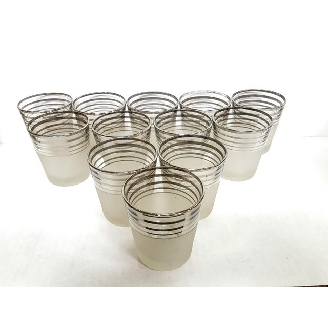 Art Deco Art Deco Frosted With Silver Rings Barware Glass Set 1930's For Sale - Image 3 of 6