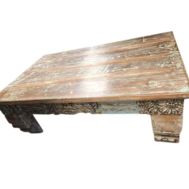1920s Antique Chai Teak Wood Coffee Table For Sale - Image 5 of 9