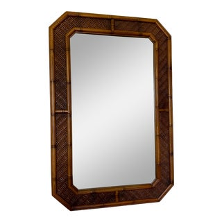 Large Faux Bamboo and Rattan Mirror For Sale
