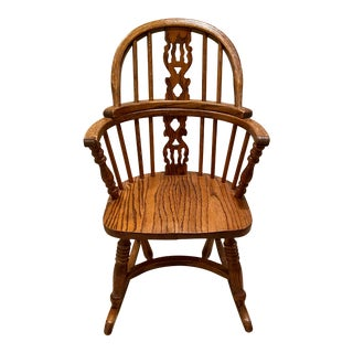 Vintage English Windsor Oak Childrens Rocking Chair For Sale