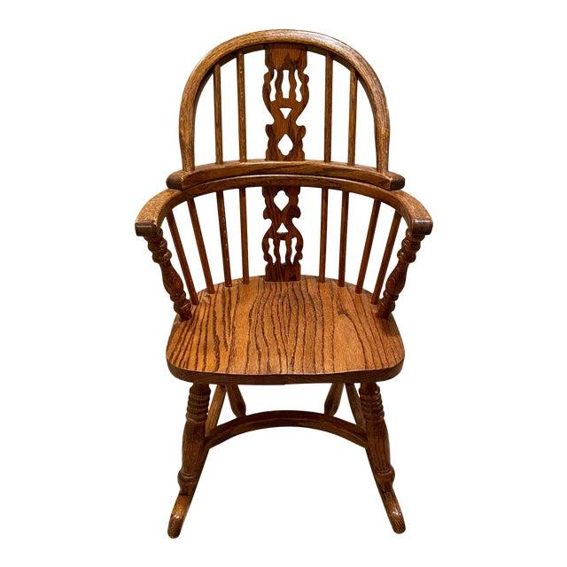 Vintage English Windsor Oak Childrens Rocking Chair For Sale