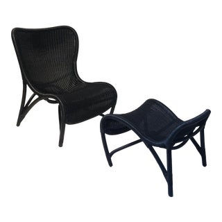 Nishiki Lounge Chair & Ottoman in Ebony Rattan by Janus Et Cie For Sale
