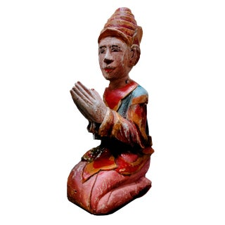1980s Polychromed Sculpted Wood Effigy Kneeling Man in Prayer Wall Sculpture For Sale
