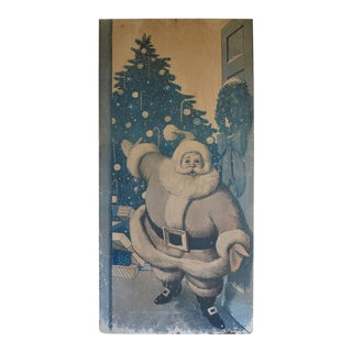 Midcentury Santa Claus Holiday Christmas Store Wallpaper Display on Board For Sale