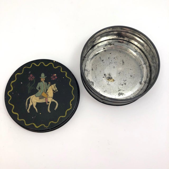 Black Early 20th Century Antique Hand-Painted Woman on Horse Round Tin Box For Sale - Image 8 of 10