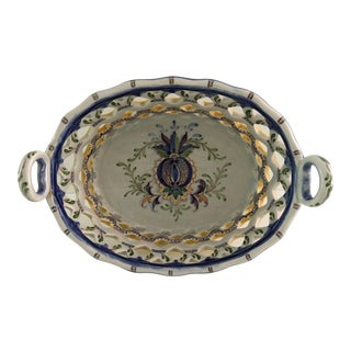 Oval Handled Porcelain Cut Work Design Basket