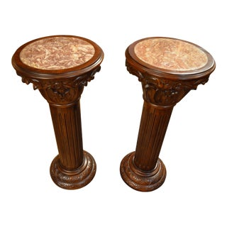 1970s Vintage Carved Mahogany Marble Top Inlaid Pedestals- A Pair For Sale