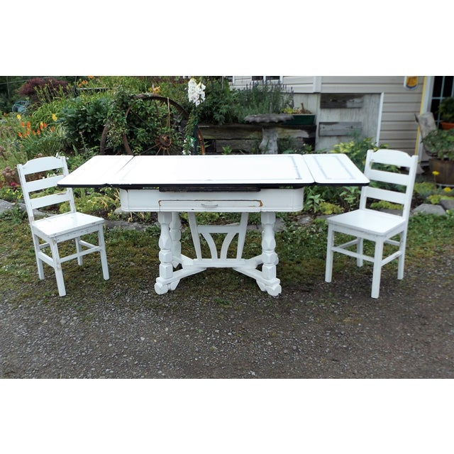 White Porcelain Expandable Farmhouse Table Set - Image 2 of 11