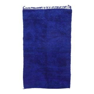 Vintage Blue Indigo Beni Mrirt Moroccan Rug - 05'07 X 10'07 For Sale