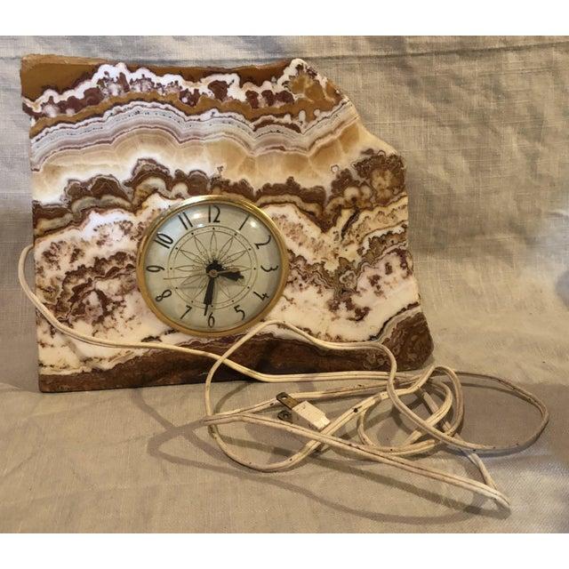 Brown Lanshire Vintage Marble Slab Clock For Sale - Image 8 of 10