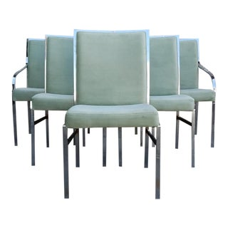 1970s Mid Century Modern Mint Velvet Baughman Dining Chairs - Set of 6 For Sale
