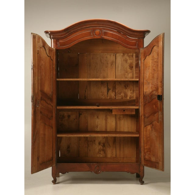 Cherry Wood Circa 1800s French Louis XV Style Cherry Wood Armoire For Sale - Image 7 of 10