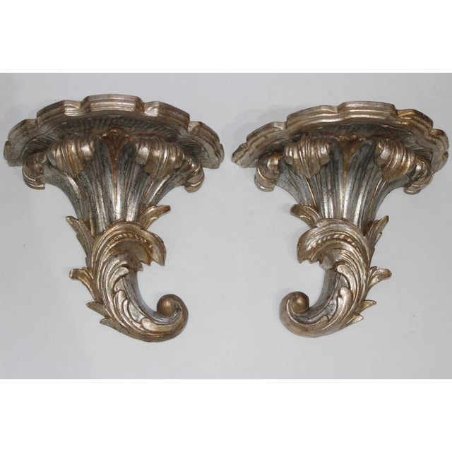 Mid-Century Louis XV Style Brackets Silver Leaf - a Pair For Sale - Image 11 of 11