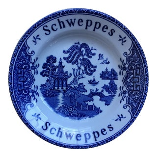Vintage Schweppes Wedgwood Blue Willow British Pub Tip Plate