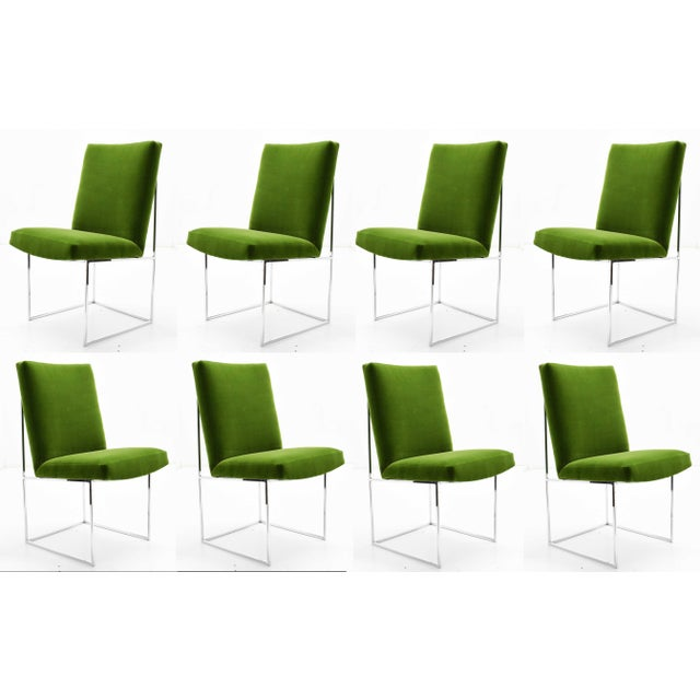 1970s Milo Baughman for Thayer Coggin Dining Chairs. Beautifully upholstered in a quality green velvet. Chrome frames are...