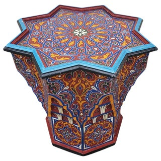 Moroccan Sm Ceuta 1 Painted and Carved Star Table, Multi-Color For Sale