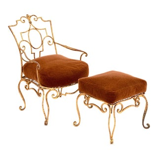 Jean-Charles Moreux Gilt Iron Armchair and Ottoman With Mohair Cushions - a Pair For Sale
