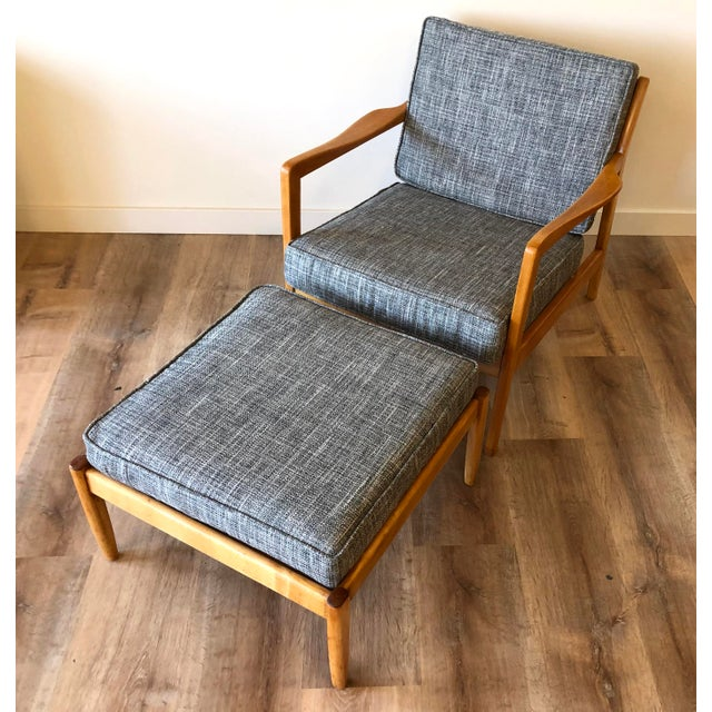 Newly-upholstered Folke Ohlsson for DUX Danish MCM arm chair with ottoman. Restored. Circa 1960. Ottoman is missing one...