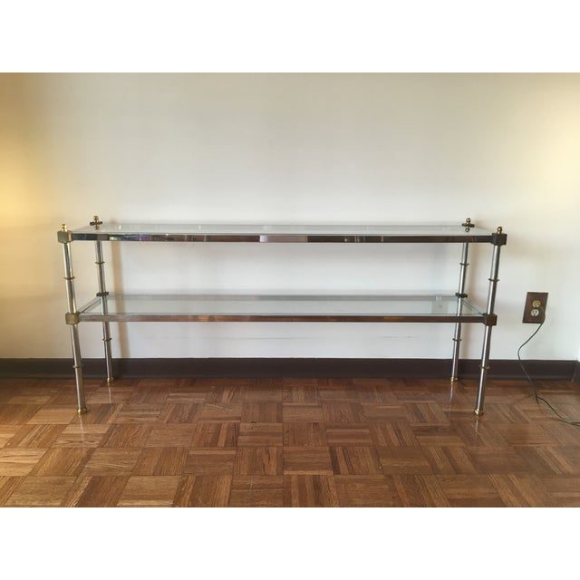 Chrome, Brass & Glass Console Table, 1970s - Image 3 of 6