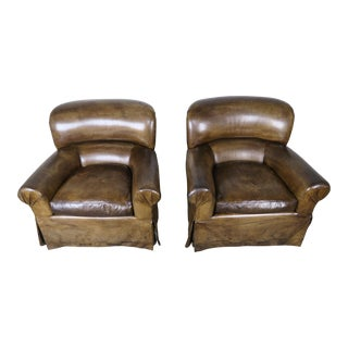 Leather Skirted Club Swivel Armchairs, Pair For Sale