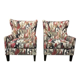Modern Abstract Wingback Chairs - A Pair