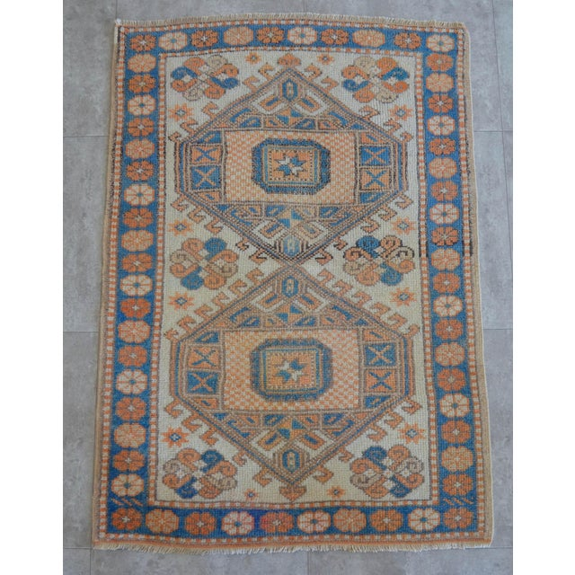 Traditional Vintage Low Pile Turkish Rug Hand Knotted Small Area Rug - 3′ X 4′4″ For Sale - Image 3 of 9